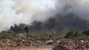Undated photo of fire at Beetham Landfill