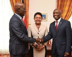 Prime Minister, Dr Keith Rowley, left & US Ambassador John L. Estrada right in undated photo