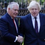 UK Foreign Secretary Boris Johnson (R) greets US Secretary of State Rex Tillerson in Londo. PHOTO: courtesy CNN