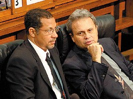 Mariano Brown left, Finance Minster, Colm Imbert, right